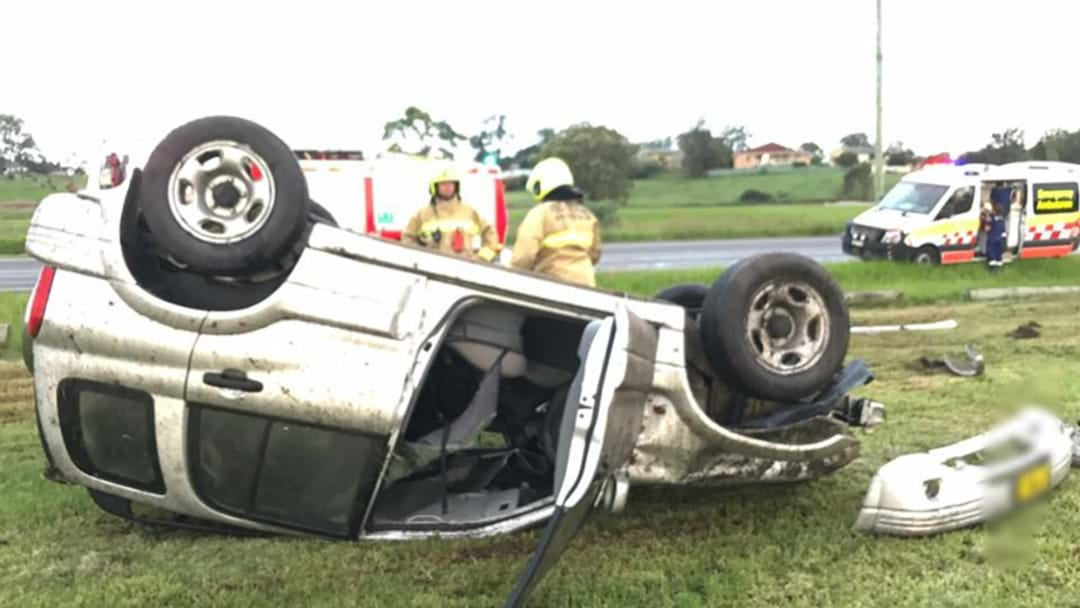 PHOTOS: Driver Flips Suzuki At Raymond Terrace