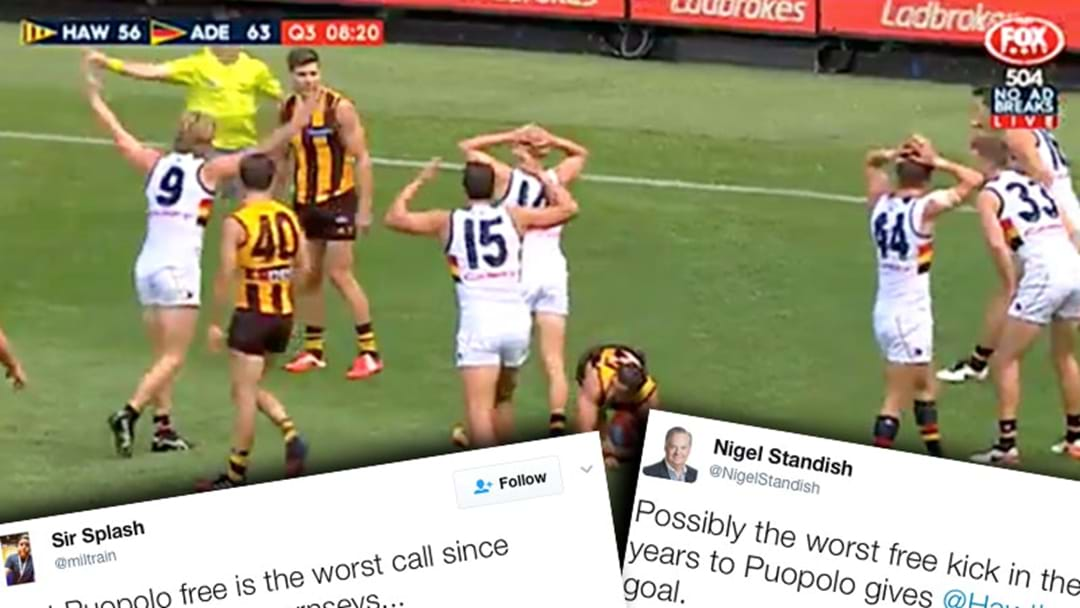 Fans And Commentators React To The Dodgy Puopolo Free Kick Against Adelaide