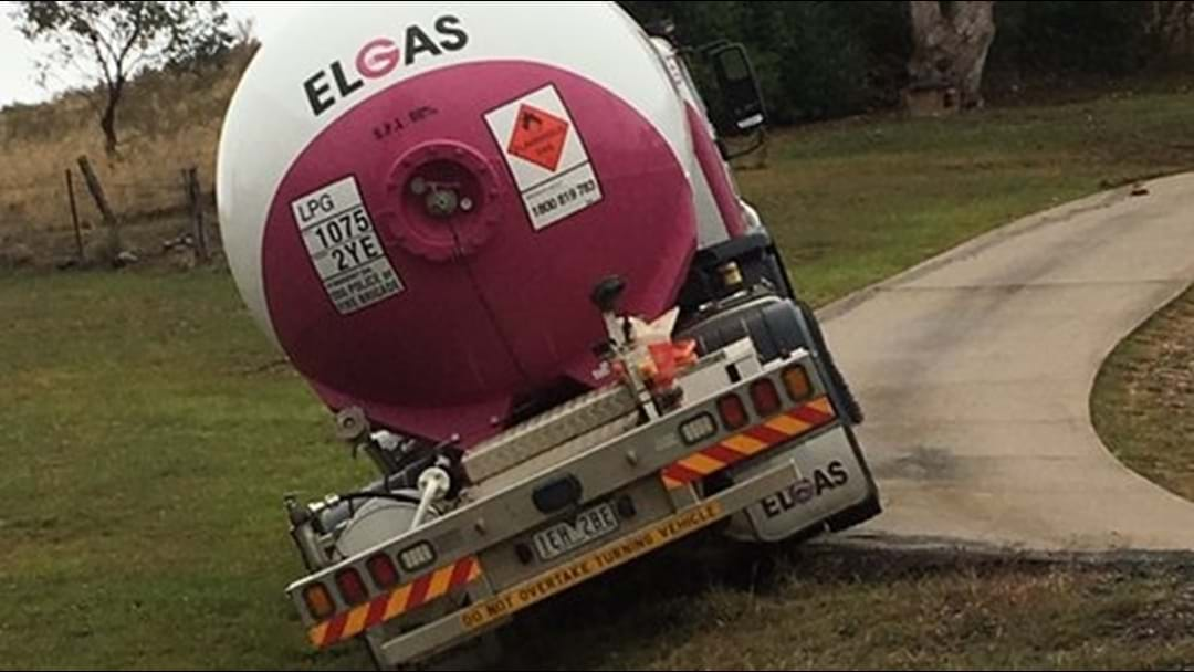 Close Call For Gas Truck