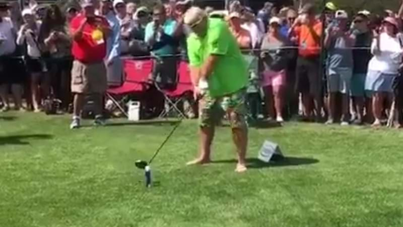 John Daly RIPS One Off A Beer Can, Barefoot, With Ciggie In Mouth