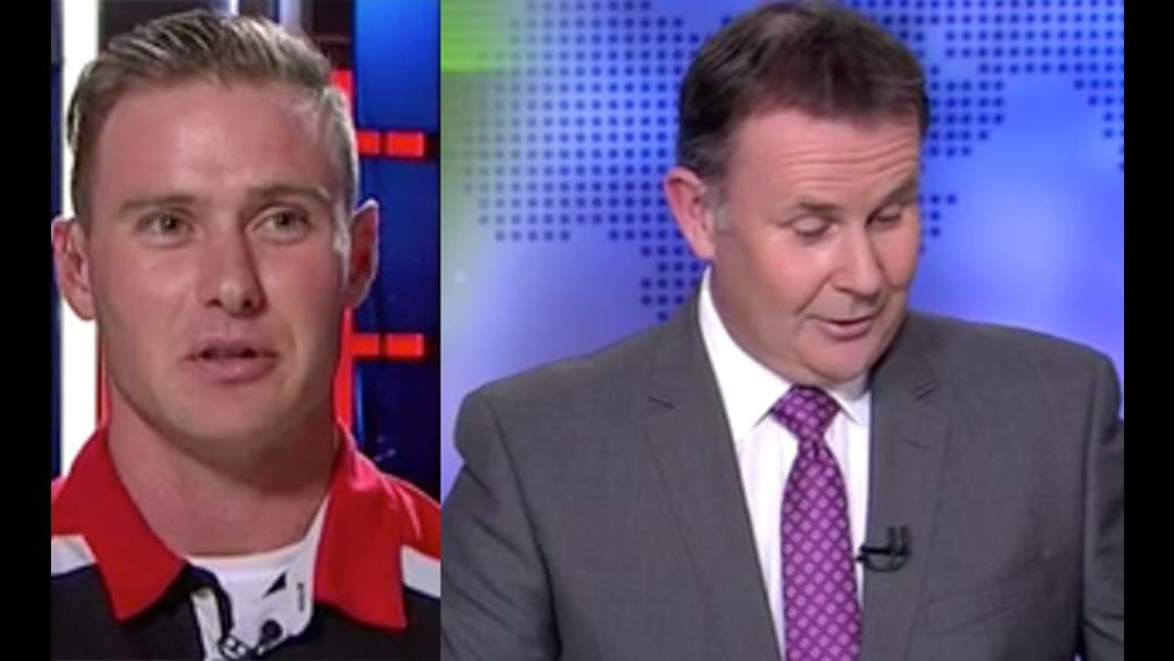 Tony Jones Copped A Double 'Chomping' From David Armitage During The News Last Night