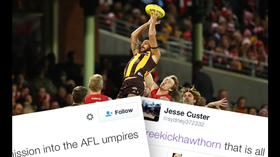 Social Media Reacts To The Umpires In The Sydney v Hawthorn Game
