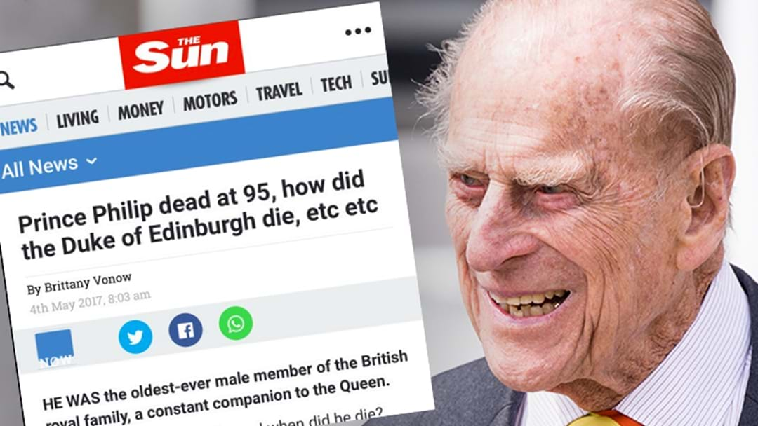 'The Sun' Incorrectly Publishes Prince Philip's Death