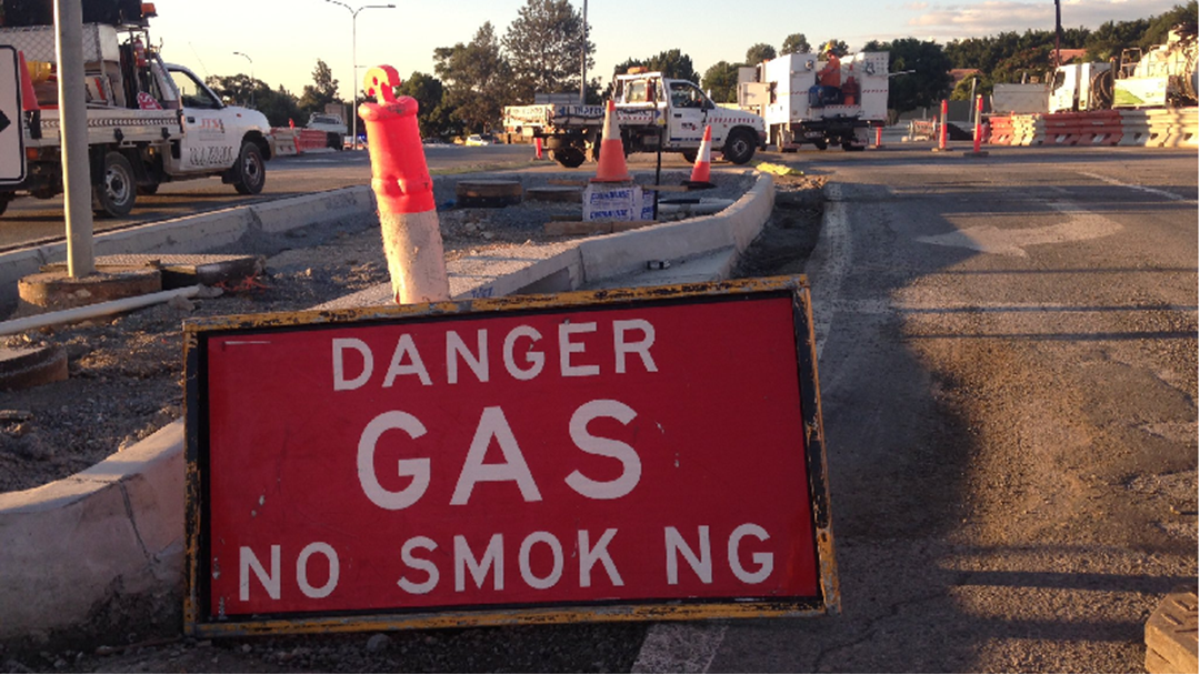 Road closures as worker cuts through gas main