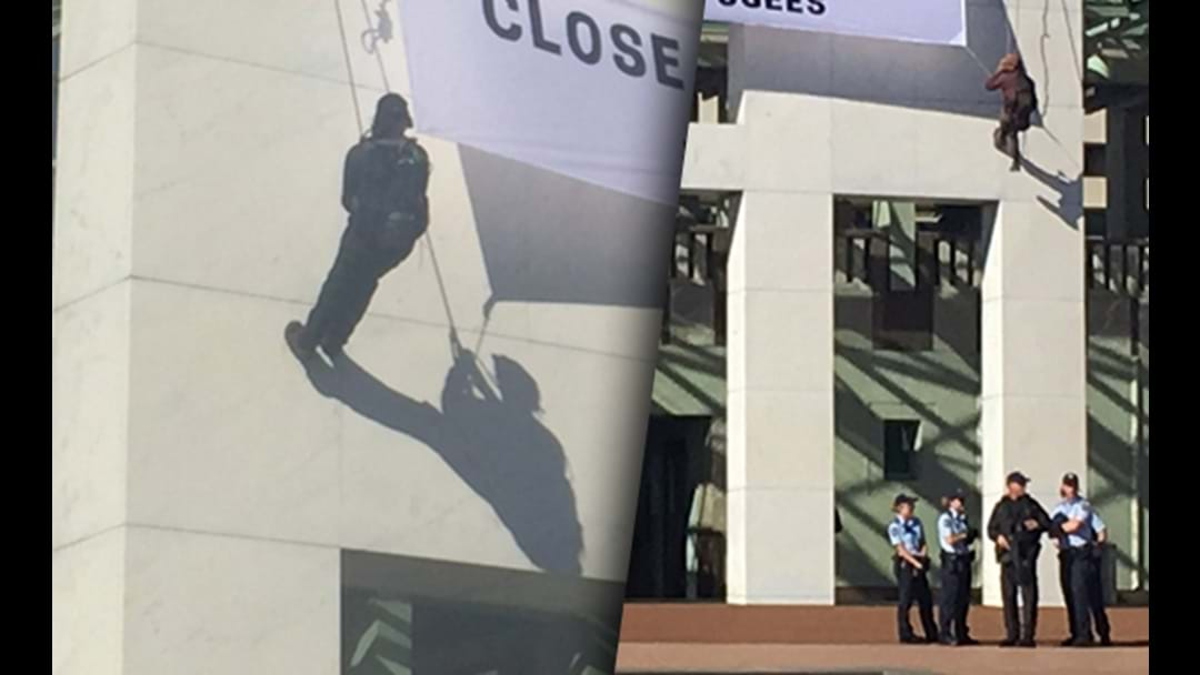 Protesters Hanging From Parliament House