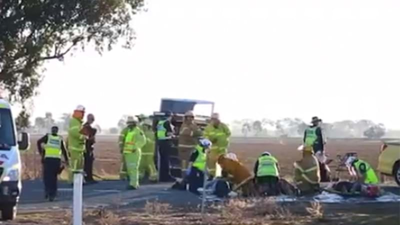 Bus rolls at Ardmona: One dead, 12 injured after collision with taxi
