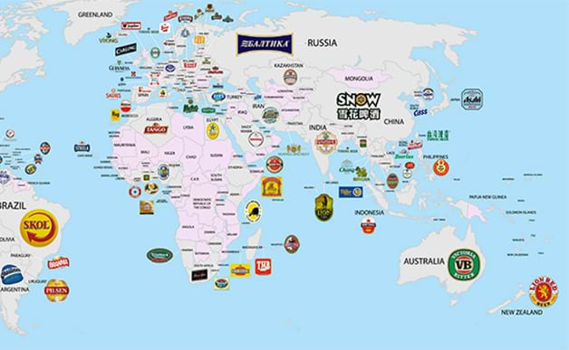 new map shows every countrys most popular beer