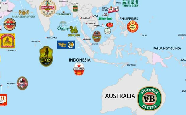 New map shows every countrys most popular beer australia and south east asia gumiabroncs Image collections