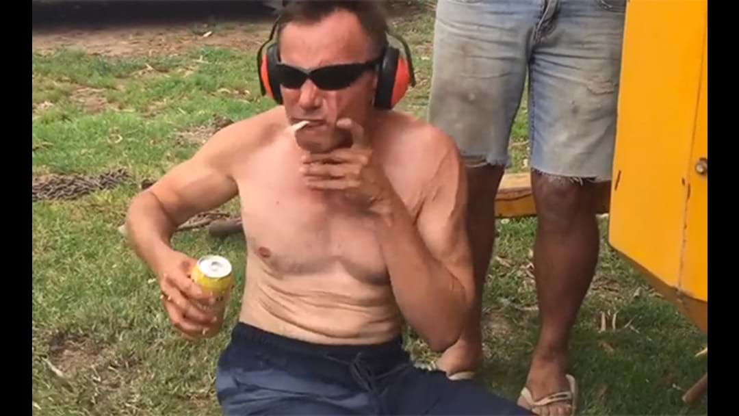 Aussie Attempts To Neck A Beer In Front Of Industrial Aircompressor