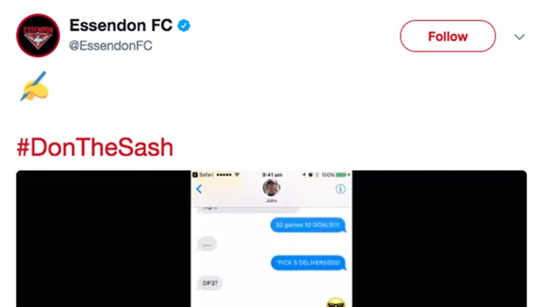 Essendon Announce New Re-Signing Via A Meme On Twitter
