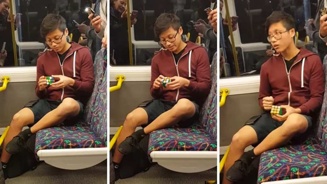 Perth Kid's Amazing Rubik Cube Solve On A Perth Train