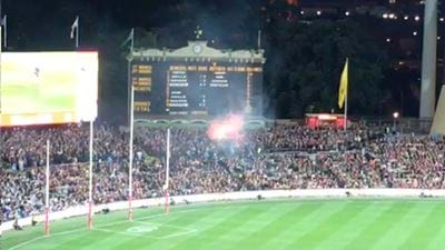 Flare Ripped At Adelaide Oval During Cats/Crows