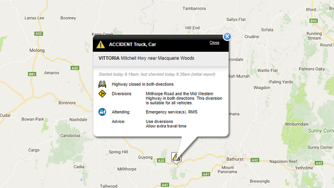 Mitchell Highway Closed in Both Directions at Vittoria