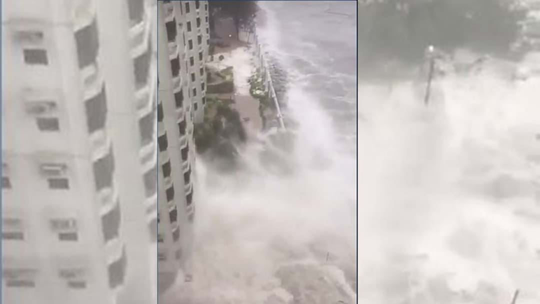 Footage Shows Scary Moment Typhoon Hits