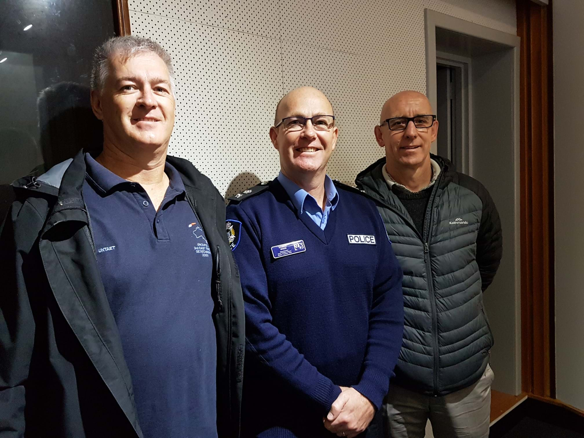 Insp Geoff Andrijasevich (left), Supt Dom Wood and CEO of Crime Stoppers Vince Hughes at Triple M with an update on the National Firearms Amnesty