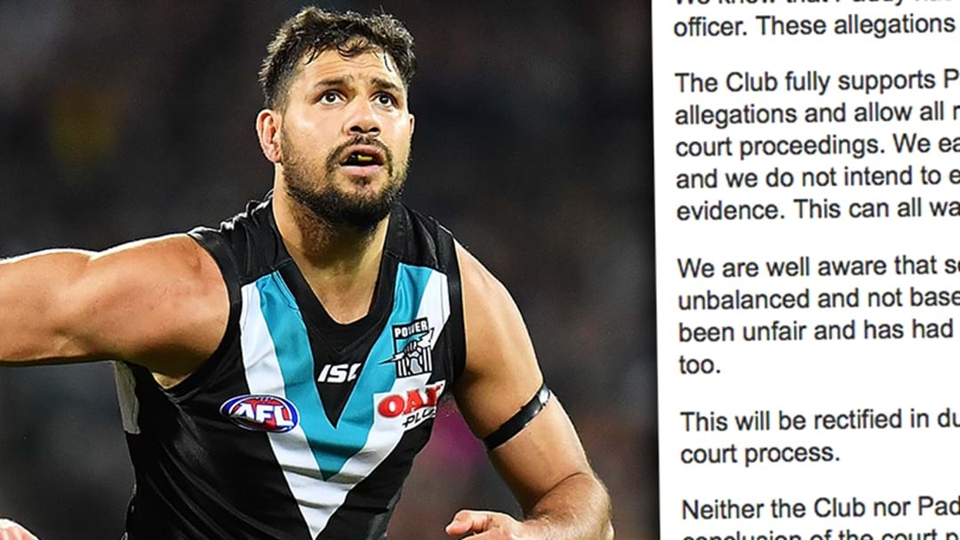 Port Adelaide Release Statements On Patrick Ryder's Charges