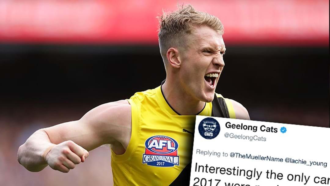 Geelong's Salty Josh Caddy Tweet