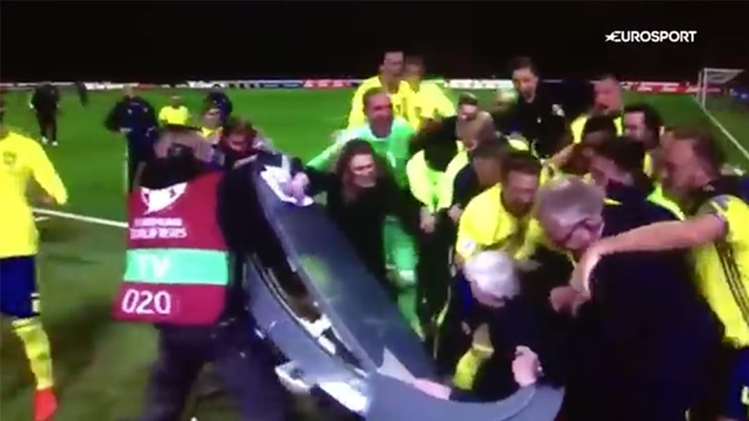 Entire Sweden Team Ambushes Live TV Broadcast After Knocking Italy Out Of World Cup
