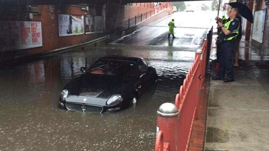 Someone Has Driven Their Maserati Into Flood Water In Melbourne