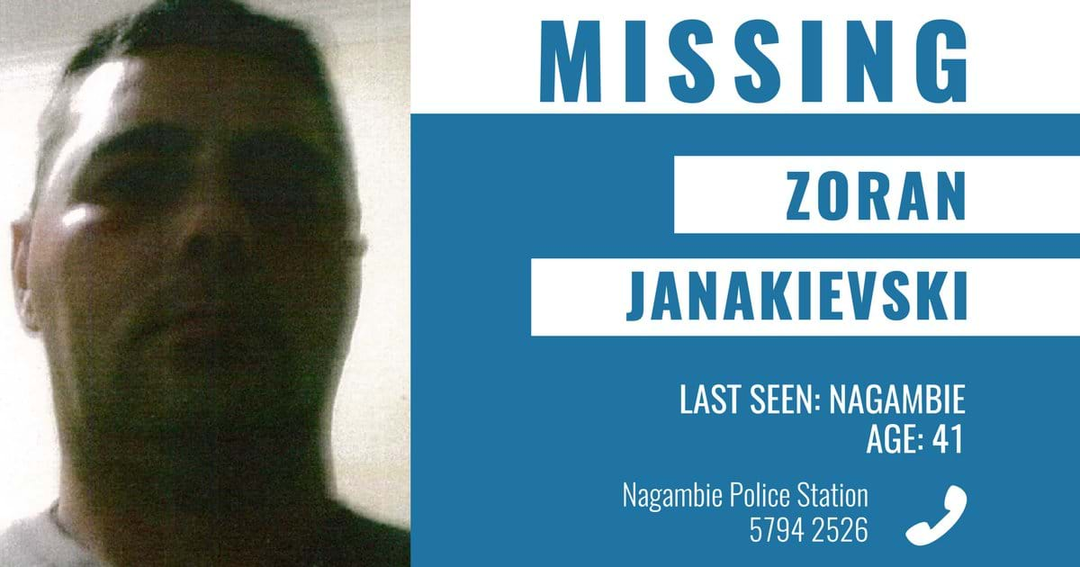 Article heading image for Search for missing Nagambie man Zoran Janakievski