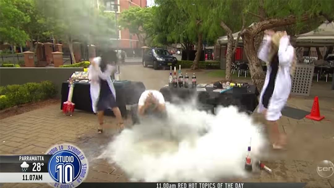 Channel 10 Morning Show Host Narrowly Escapes Injury As Science Experiment Nearly Goes Horribly Wrong