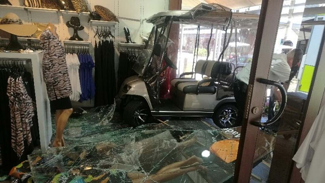 Elderly driver smashes golf buggy through Sanctuary Cove shopfront