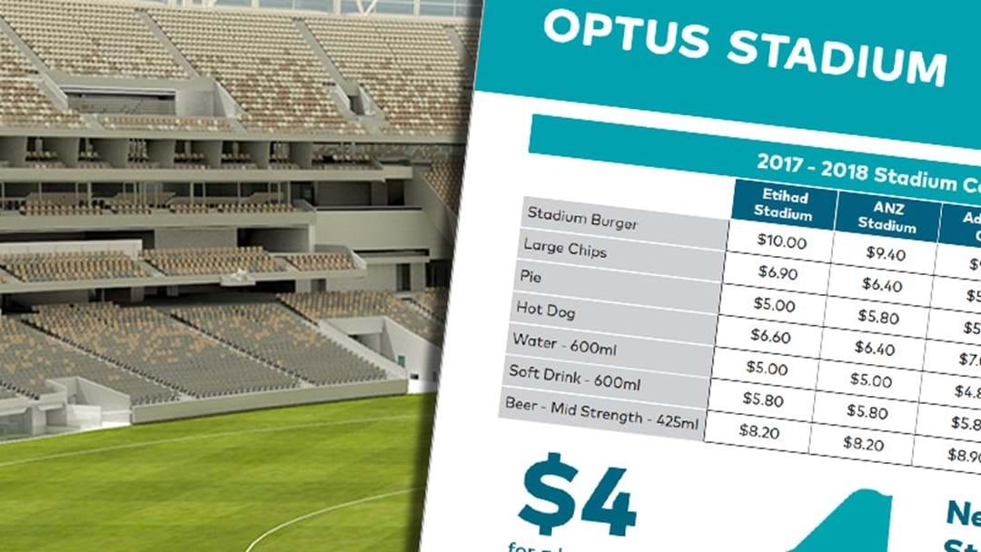 Optus Stadium Reveal Venue Menu Including Prices And Comparisons