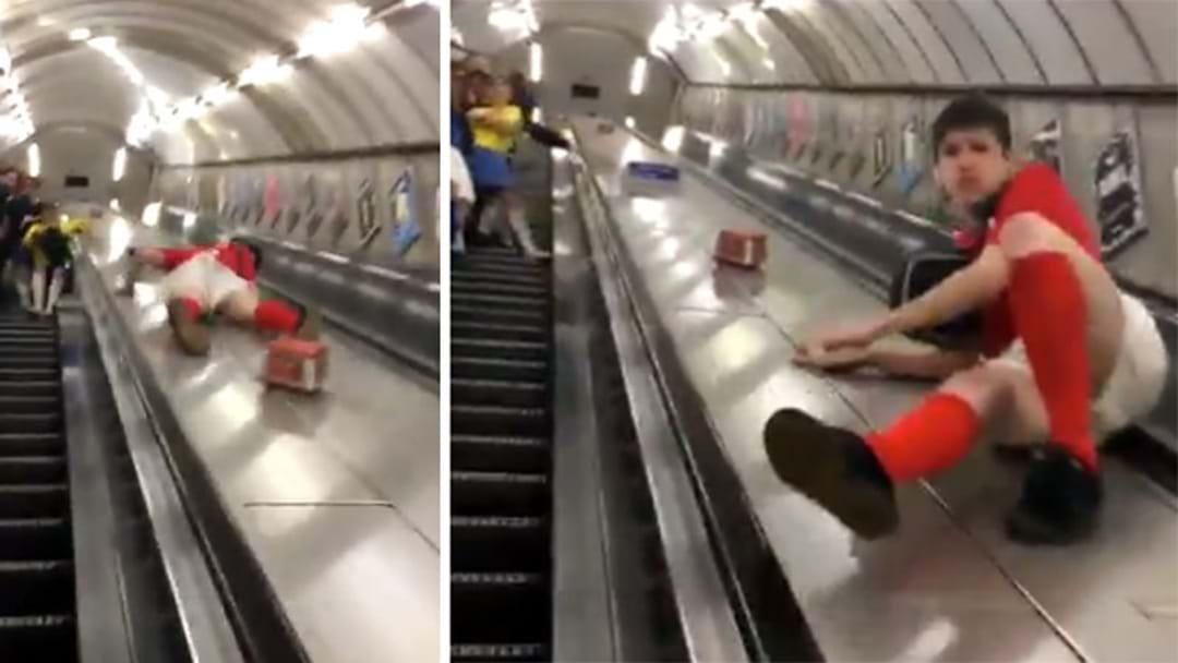 Bloke's Escalator Joy Ride Unbelievably Worsens AFTER He Completely Destroys His Knackers