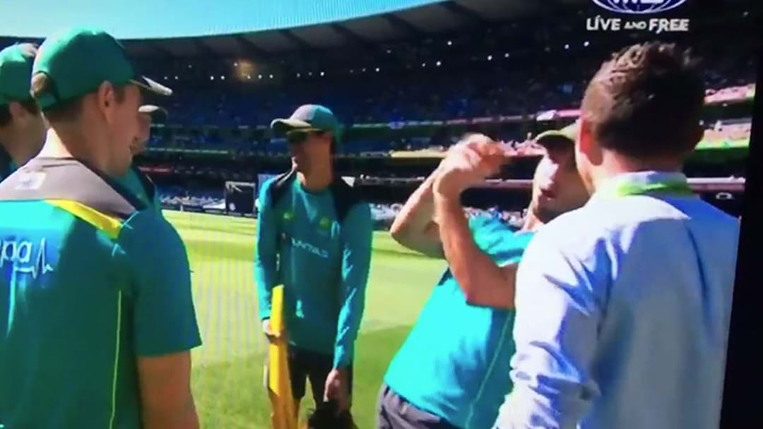 Mitch Marsh Sprung By The Cameras Making A Dirty Gag