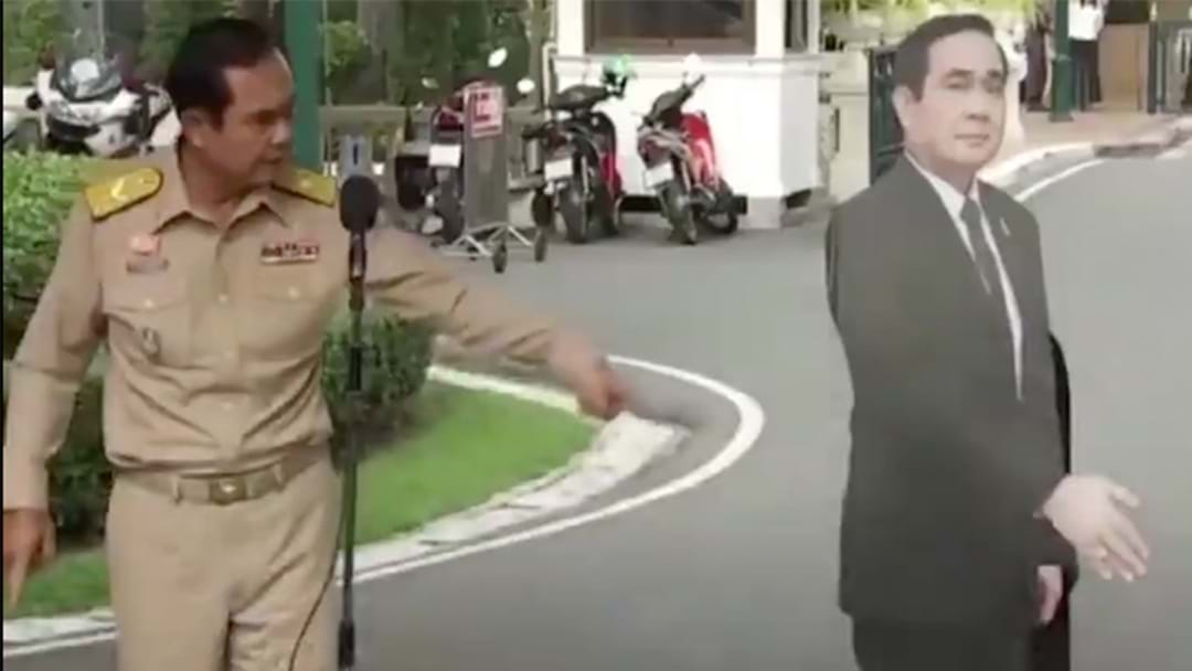 Thai PM Produces Cardboard Cutout Of Himself At Press Conference To Answer Reporters Questions