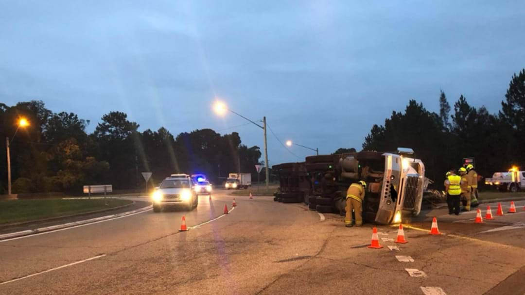 PHOTOS: Truck Rollover On Nelson Bay Road