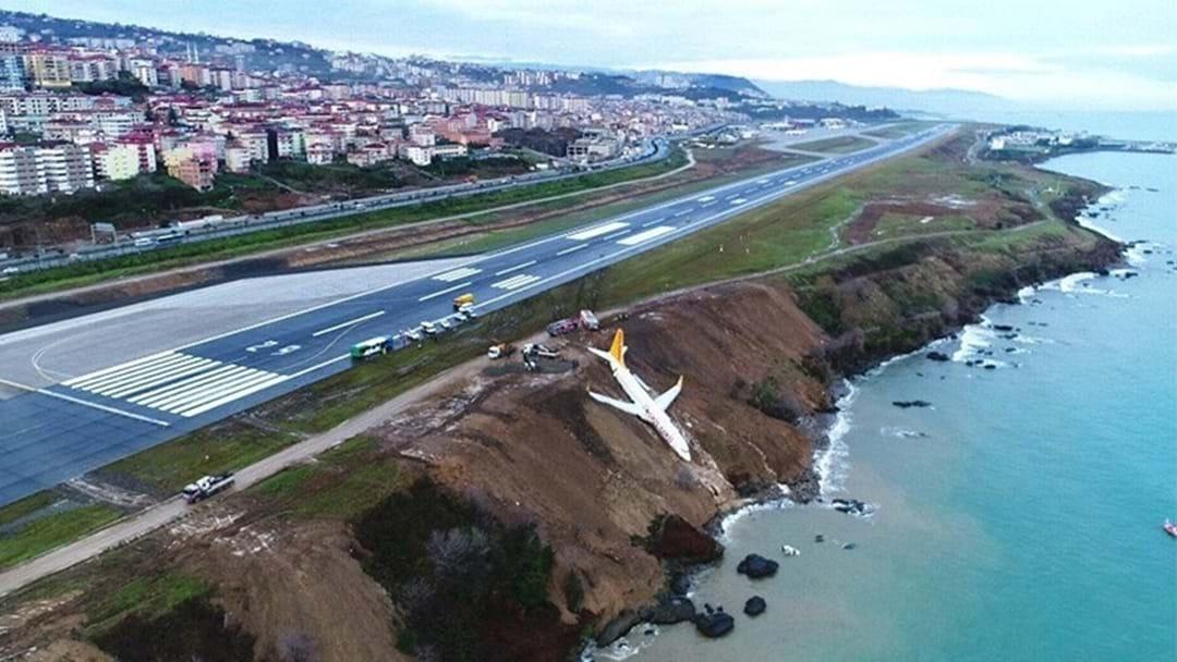 Passenger Plane Slides Off Runway, Narrowly Avoids Crashing Into Black Sea