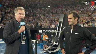 Ron Burgundy Interviewed Roger Federer At The Australian Open