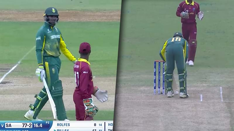 South Africa batsman given out obstructing the field