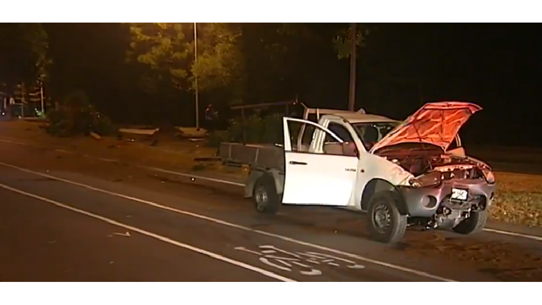A joyride in a stolen ute has landed two men in hospital and in handcuffs