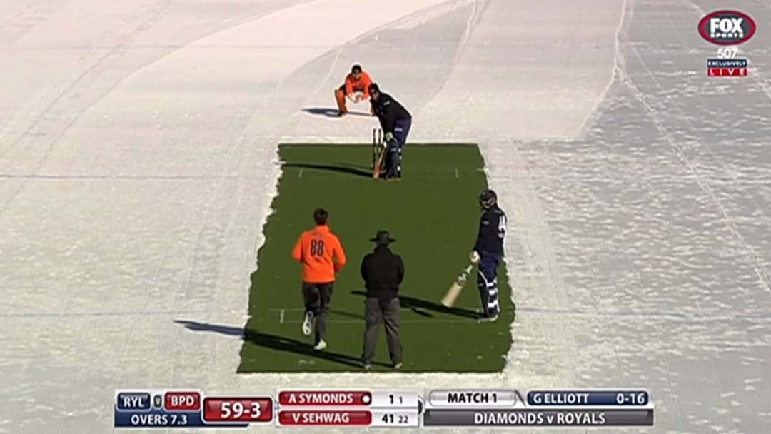A Bunch Of Cricket Legends Played A T20 Game On Ice In The Swiss Alps Last Night