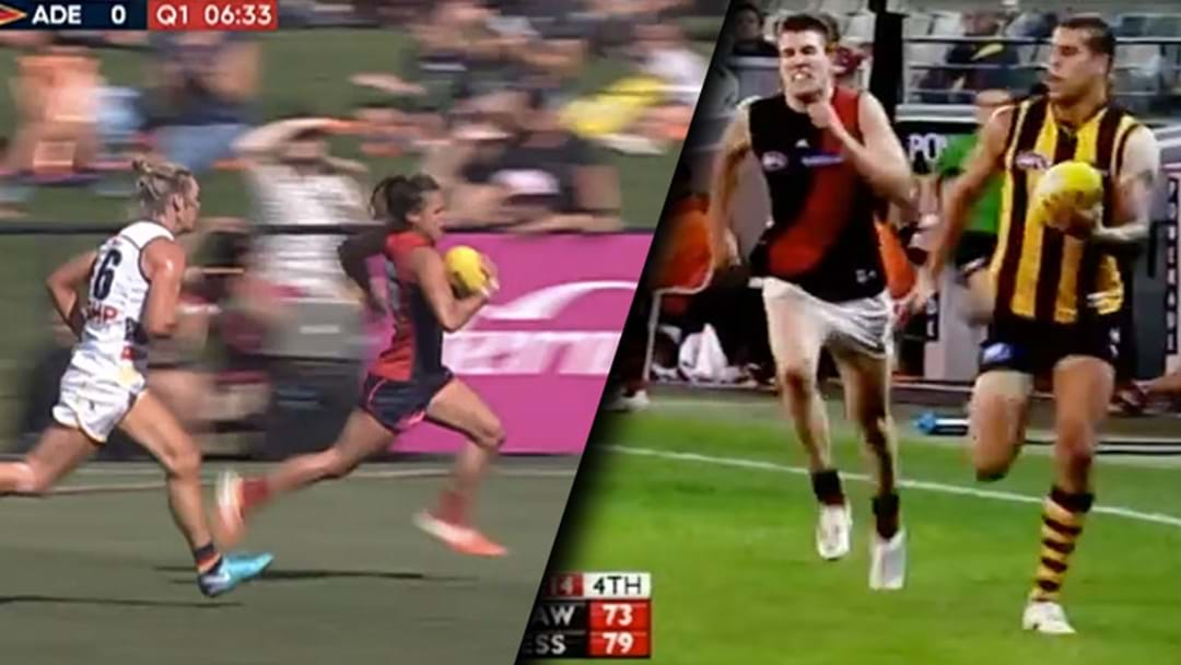 Aliesha Newman Just Kicked The AFLW Version Of Buddy Franklin's Goal Against Essendon