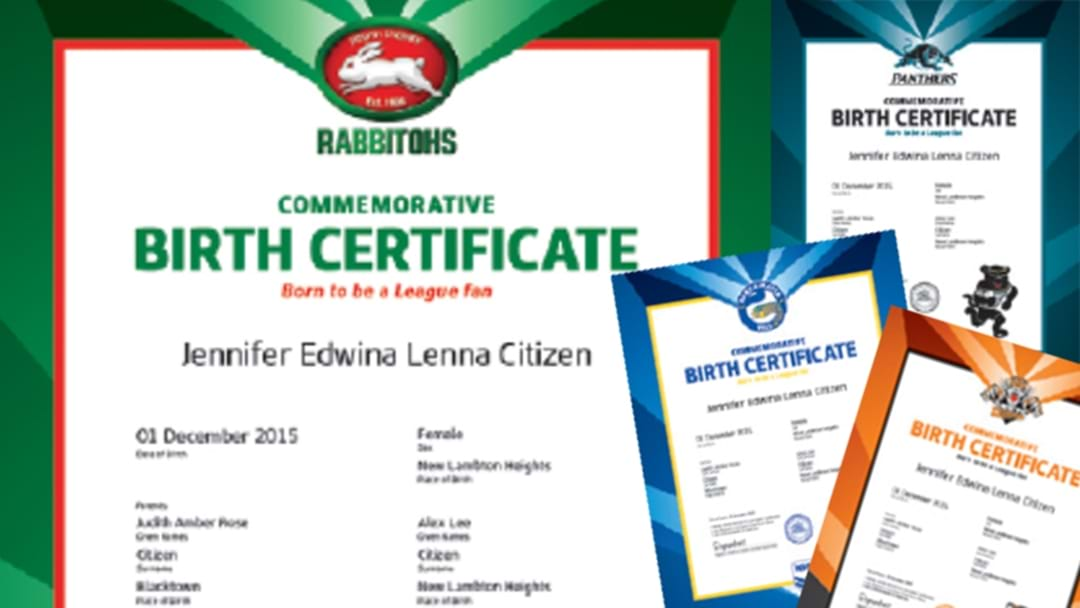 Friendly Reminder That You Can Get Your Baby A Special NRL Birth Certificate