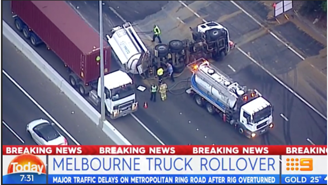 Roads In Melbourne's North Are Absolutely Stuffed Following Rubbish Truck Crash