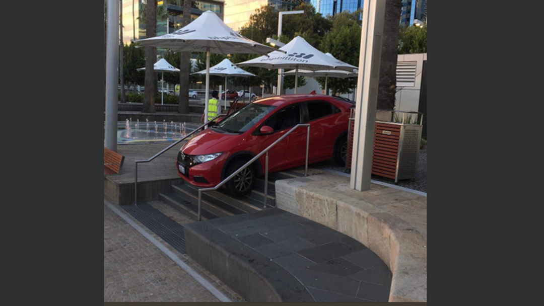 Car Stuck On Steps In Bizarre CBD Incident