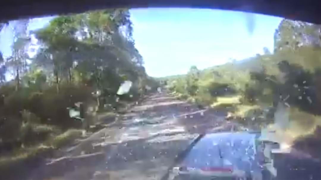Wild Crash On M1 At Lake Mac Caught On Video