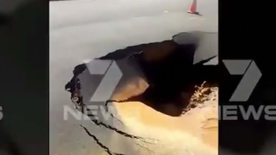 Sinkhole Opens Up On Adelaide Road