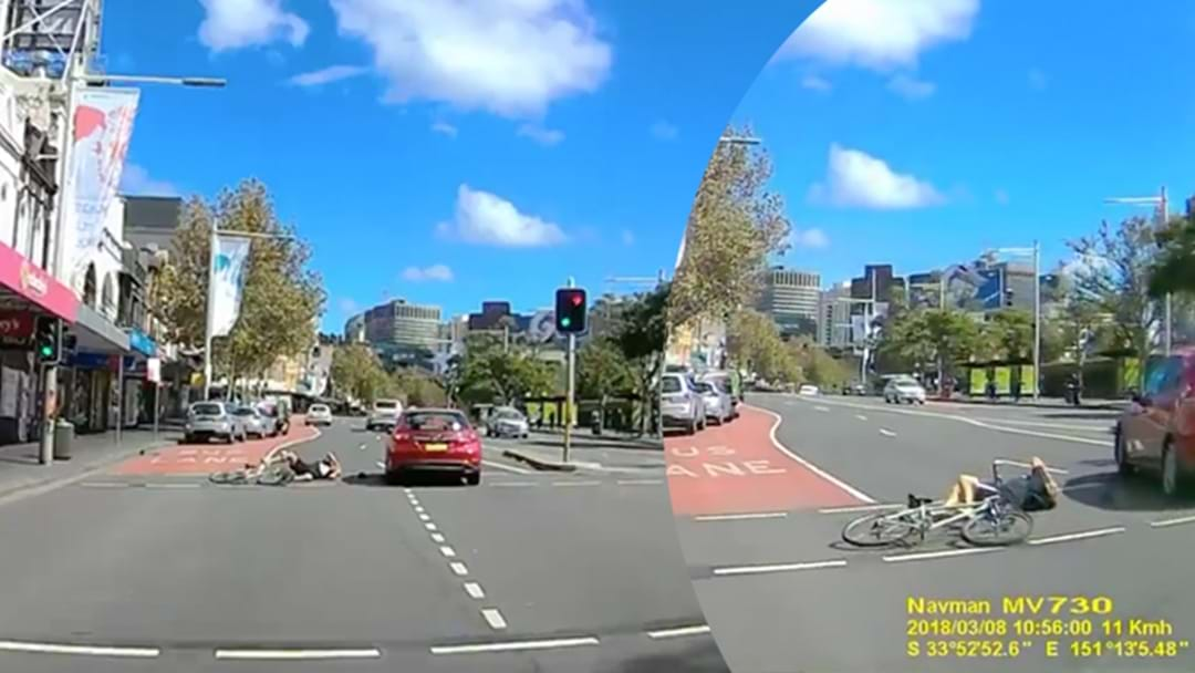 Dashcam Footage Captures Cyclist Being Knocked Clean From Bike On Busy Sydney Road