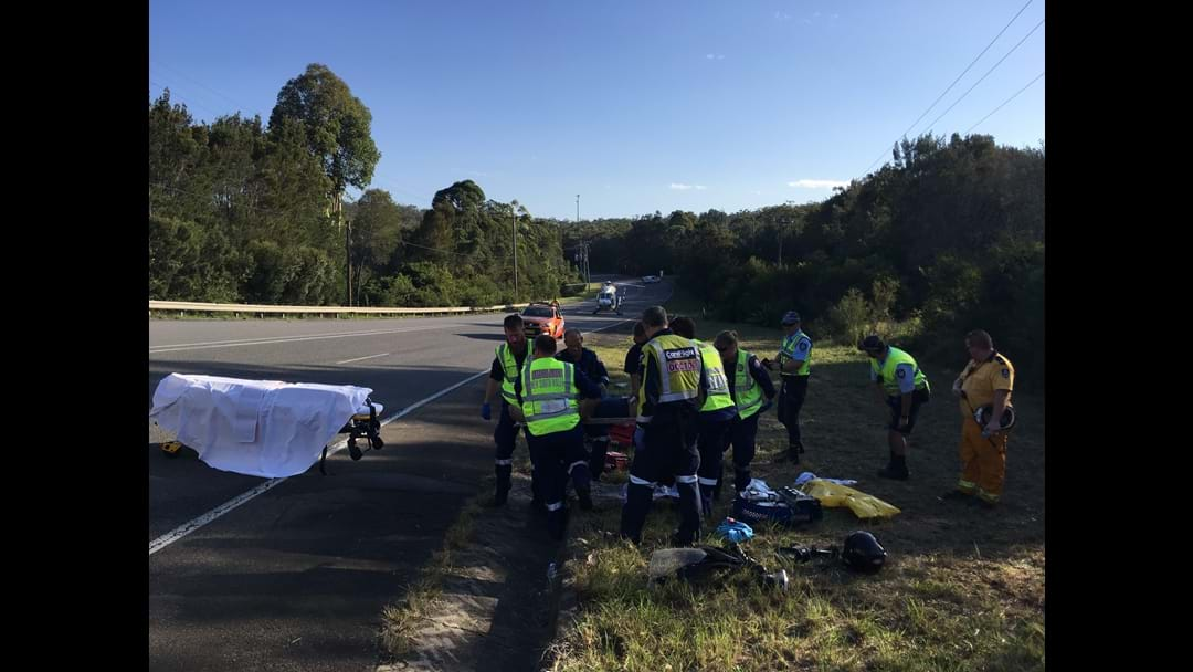Fiery Motorcycle Crash At Peats Ridge