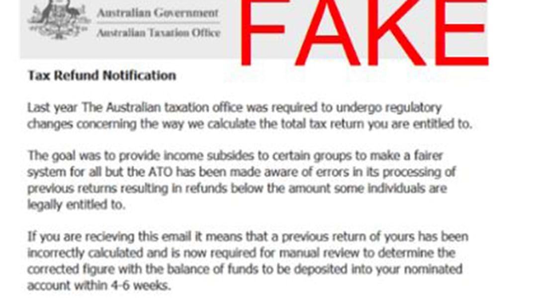 Police Caution Against Accessing A Fake ATO Tax Scam Email