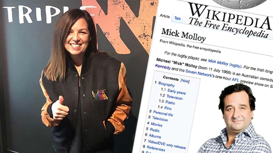 Jane Returns Serve, Adds Some New 'Facts' Into Mick Molloy's Wikipedia Page