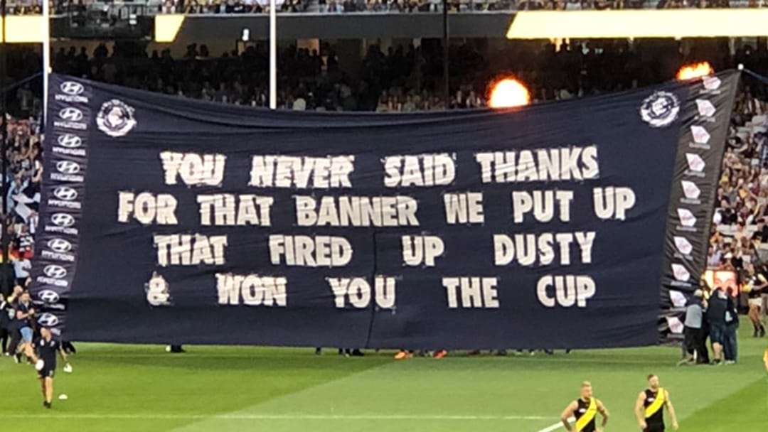 Carlton Took The Piss Out Of Themselves On Their Banner Tonight