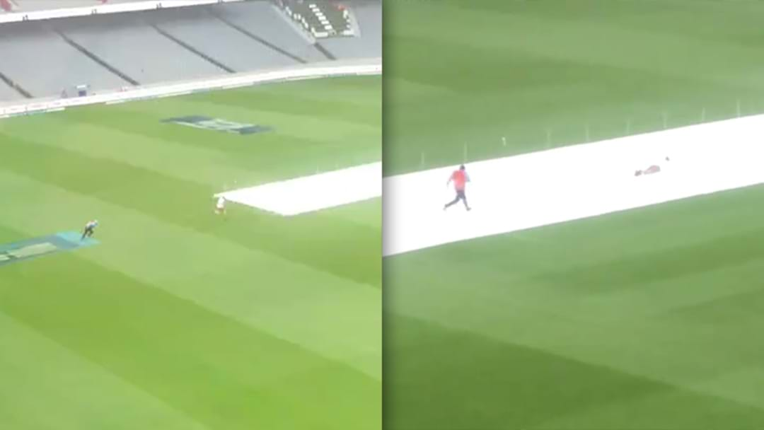 Kiwi Legend Goes For A Slip And Slide On The Covers During A Rain Delay