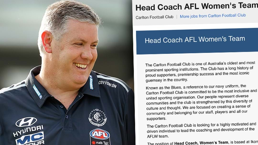 Carlton Has Chucked Their AFLW Head Coaching Role On Seek