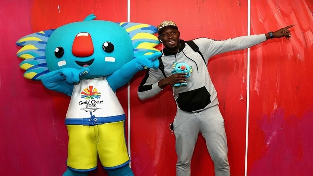 Usain Bolt Touches Down For The Comm Games